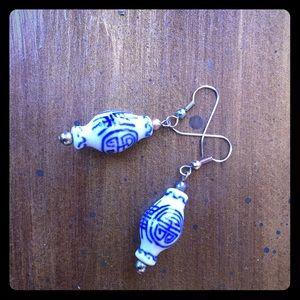 "Chinese ""longevity"" glass bead earrings."